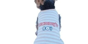 Blue Grey Stripe Mommy's Boy Tank Top For Dog – Extra Small