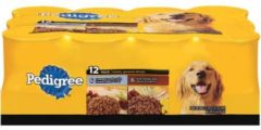Pedigree Meaty Ground Dinner Variety Pack, Beef, Liver & Chicken and Beef, Bacon & Cheese 13.2oz Cans, 12 Count Wet Dog Food